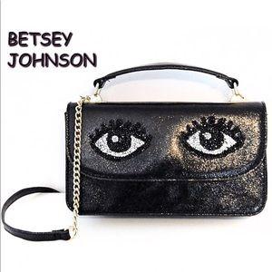 BETSEY JOHNSON Black Handbag & Attached Wallet